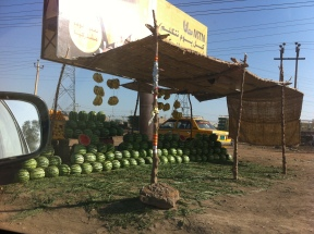 One of the many watermelon stalls scattered around Khartoum. (Credit: Amal Osman)